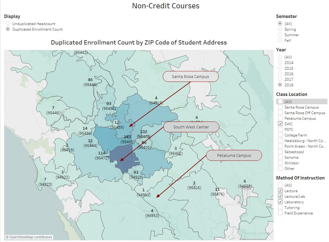 Non Credit Enrollments and Headcounts - link